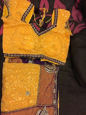 Yellow And Purple Sari With Blouse - Brand New