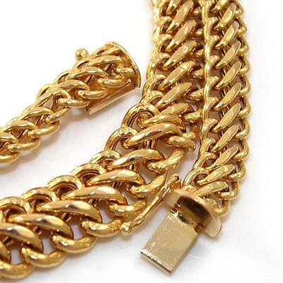 """14K Yellow Gold Double Curb Cuban Wide Chain Link Necklace 17""""  10mm   QZ"""