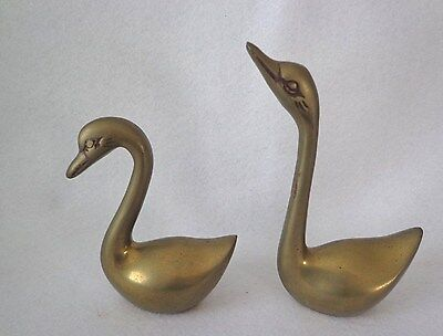 Collectible Brass Set Of Swan Bird Figurines - Clean Lines- Heavy