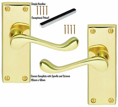 Victorian Scroll Polished Brass Lever Latch Door Handles Pack Sizes 1 - 8 pairs
