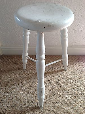 "Antique Painted Wooden Stool With ""vr"" To Seat"