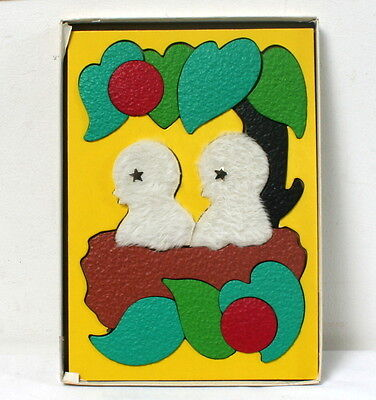 """Puzzle tactile vintage """"oisillons au nid"""" Lauri made in USA"""
