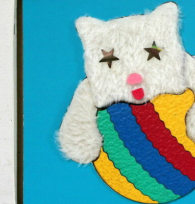 """Puzzle tactile vintage """"chaton et sa balle"""" Lauri made in USA"""