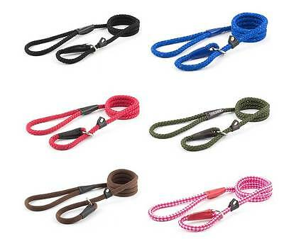 Ancol Dog Slip Lead Walking Gundog Rope Various Colours Widths & Lengths
