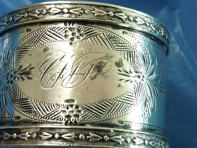 """Sterling Silver Antique Fine Silver Napkin Ring 1 1/4"""" Highly Decorated"""