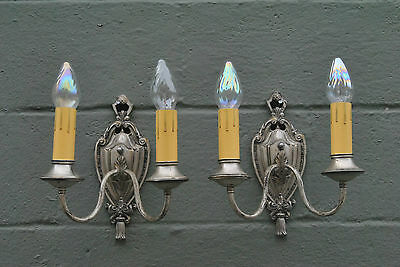 Antique Pair Silver Tone Ornate Wall Sconce with Two Sockets and Tassle Detail