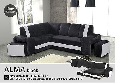 - Alma - Brand New Corner Sofa Bed with pouf, Sleep Function more than 4 seater
