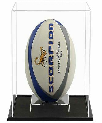 Acrylic Display Case for a Signed/Autographed Rugby Ball (Display Vertically)
