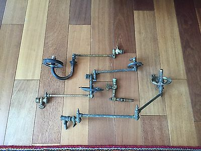 Lot Antique Victorian Brass Wall Sconce Bath Room Gas Light  Folding Arm