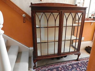 Antique Carved Mahogany Bookcase Display Cabinet