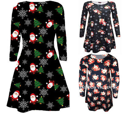 Babies Toddler Girls  Xmas Swing Dress Christmas Santa Festive Print Dress 0-13