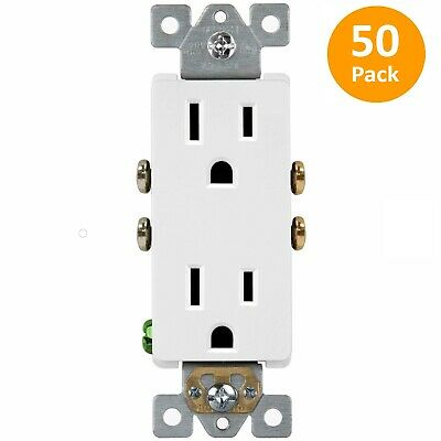 50 Pack Decorator 15A White Receptacle Residential 5-15R Outlet 61501-W Plug