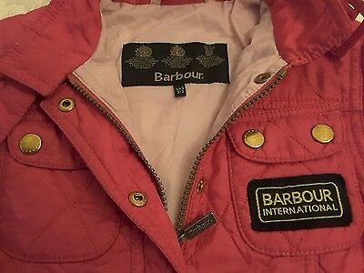 Girl's Barbour International Biker Quilted Jacket Coat. Size XXS age 2/3. Pink