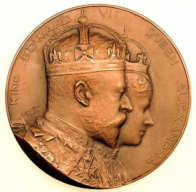 "1901 King Edward Vii Bronze Medal ""hotel Victoria"" By E.fuchs Superb"