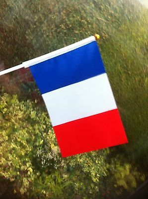 6 x French France SMALL HAND WAVING FLAGS Twin Town Displays French Products New