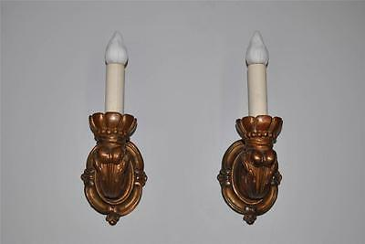 Vintage Pair Oversized Single Socket Wall Sconces with Copper Color Patina
