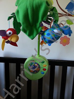 FISHER PRICE RAINFOREST JUNGLE PEEK A BOO Musical Cot Bed Baby Mobile & REMOTE