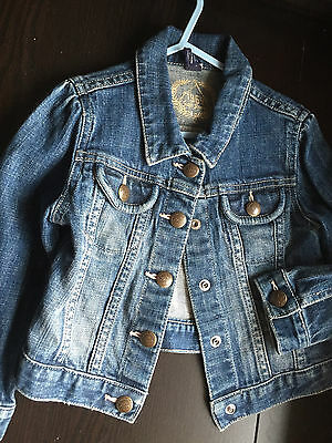 GAP Kids girls boys TODDLER blue SNAP button DENIM JEANS JACKET coat AGE 4 XS