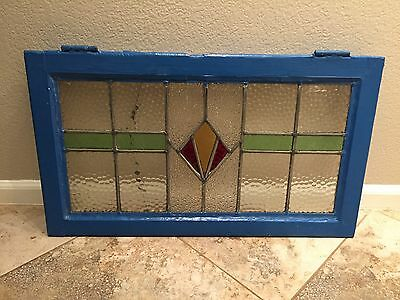 Antique Stained Glass Window Wood Frame Art Deco Shaby Chic Original Vintage