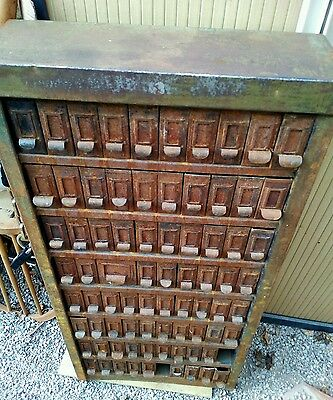 Stunning unique vintage 78 draw metal industrial cabinet retro