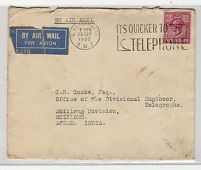 Gb - London: 1932 Air Mail Cover To India With Slogan Postmark (C12152)