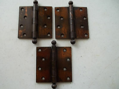 "3 Early 1900's Steel 4"" x 4"" Japanned Finished Door Hinges, Marked S.W.,Free S/H"