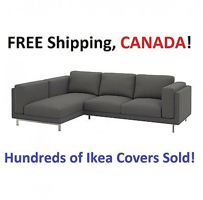 IKEA NOCKEBY Loveseat with Chaise LEFT Cover Slipcover RISANE GRAY New in Box!