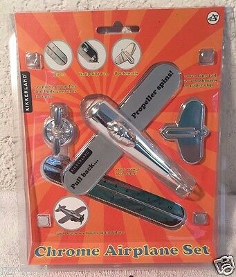 Chrome Metal Airplane Novelty Bookmark Ruler Bookend Deo Propellers Turn