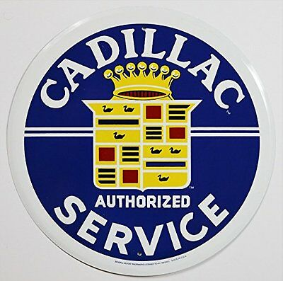 Cadillac Service Round Tin Sign 12 x 12in
