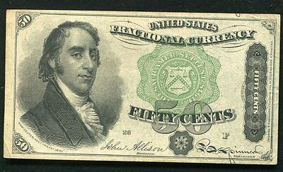 """50 Fifty Cents Fourth Issue Fractional Currency Note """"dexter"""" Green Seal Au"""
