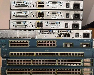 Cisco CCNA CCNP CCIE LAB KIT 3x 1841 (IOS 15) + 1x 2600 + 4x Switches + leads