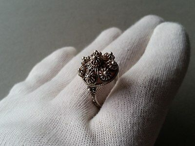 ANTIQUE Ottoman Hand knitted filigree Sterling Silver ring-jewelry 19th century