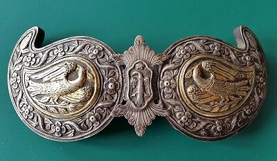 RARE MAGNIFICENT antique silver alloy belt buckle with songbirds+GILDING  19th c • CAD $412.02