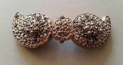 Magnificent ANTIQUE jewelry-Ottoman belt buckle filigree silver 19th century