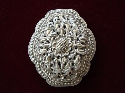 Rare hammered-engraved Ottoman lace forged silver brooch decoration 19th century