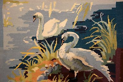 Large Vintage Penelope Swans Cygnets Wool Tapestry Embroidery 46x58cm Finished