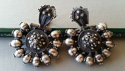 MAGNIFICENT jewelry! Antique Rare Ottoman silver filigree earrings 19th century