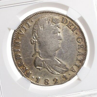 1821 ZS RG Mexico 8R Zacatecas HISPAN NGC Certified VF Details Mexican Silver