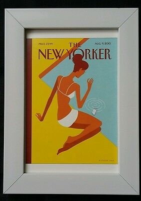 New Yorker magazine framed postcard print 6x4 NEW Woman bikini swimming pool