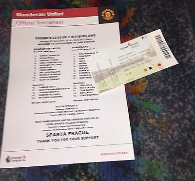 Manchester United U23 Reserves V Sunderland 21.11.16 Team Sheet Ticket