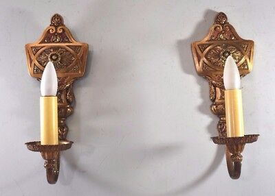 Pair of 1920s Vintage Original Hand Painted Brass Single Socket  Sconces