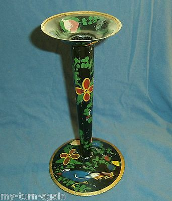 Vintage Primitive Tin Tole Toleware Tall Candle Holder Candlestick Hand Painted