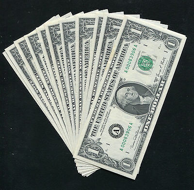 Complete 12 Note District Set Of 1969-D $1 Frn Federal Reserve Notes Gem Unc