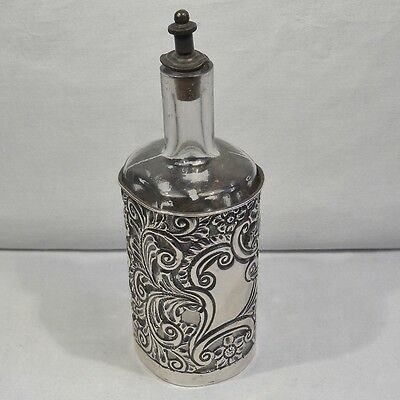 Antique glass perfume scent bottle, hallmarked silver sleeve, blank cartouche