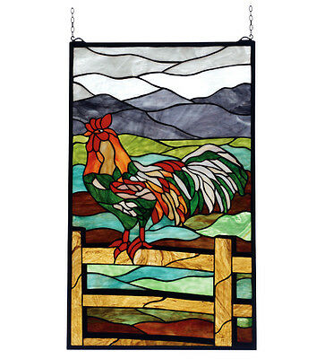 "Meyda Lighting 69398 19""W X 31""H Rooster Stained Glass Window"