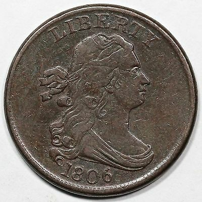 1806 C-1 Small 6 Stemless Draped Bust Half Cent Coin 1/2c