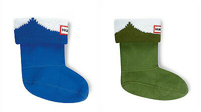 hunter kids fleece wellies welly warmer socks green blue XS S M L HALF PRICE