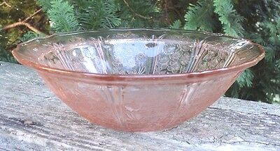 "Vintage Pink Depression Glass Cherry Blossom Pattern 8 1/2"" Berry Bowl"