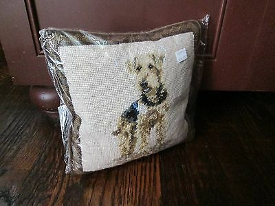 FULL AIREDALE TERRIER  Dog Handmade Needlepoint Pillow 10 by 10  NWT