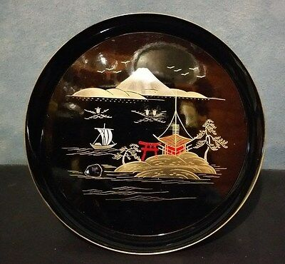"""Collectible Vintage """"small Round Laquerware Hand Painted Tray"""""""